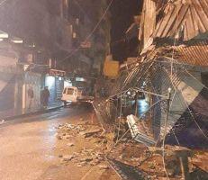 الأمطار الغزيرة تهدم أحد المنازل القديمة في اللاذقية
