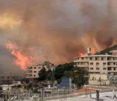 أضرار مادية كبيرة جراء الحريق الأكبر شهده ريف حمص الغربي هذا العام