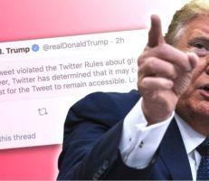 """تويتر يخفي تغريدة لترامب بسبب """"تمجيد العنف"""""""