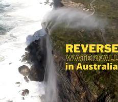 شلال مياه عكسي بالقرب من سيدني (فيديو)