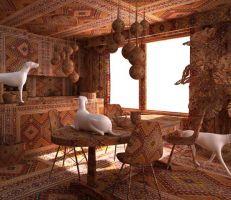 أذربيجاني يغطي غرفاً بأكملها بالسجاد