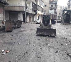 """مجلس مدينة حلب يستجيب لـ """"المشهد"""" ويتابع واقع النظافة في حي صلاح الدين ."""