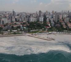 """""""مخاط البحر"""" يغطي سواحل بحر مرمرة في إسطنبول"""